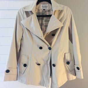 Max Mara beige trench coat w/ detachable hood